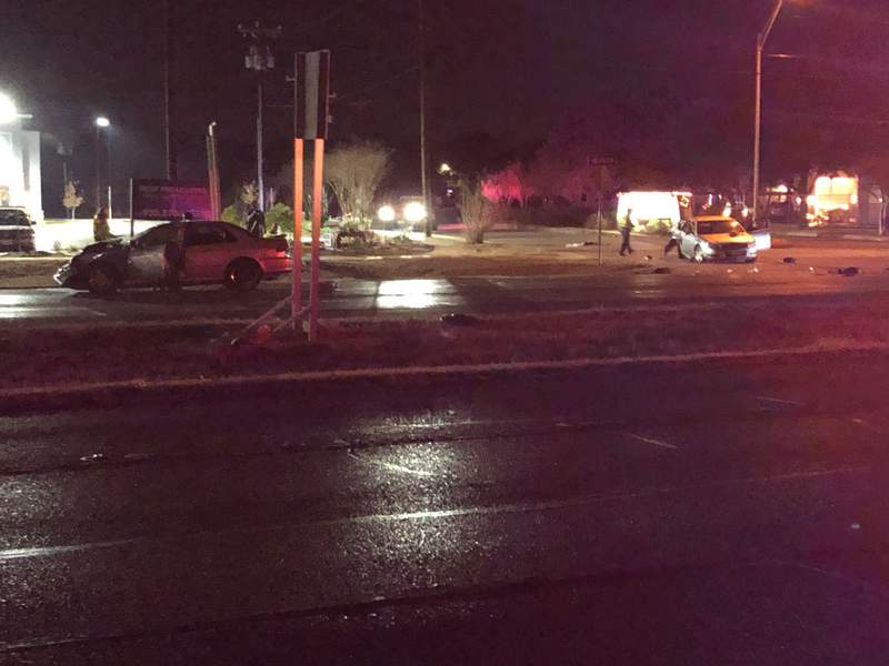 Four people were injured following a two-vehicle crash on the Northwest Side, according to San Antonio police.
