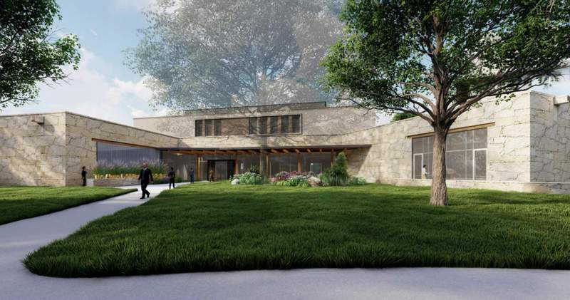 A rendering of what the Exhibit Hall & Collections Building will look like from the outside. Rendering by Gensler | GRG.