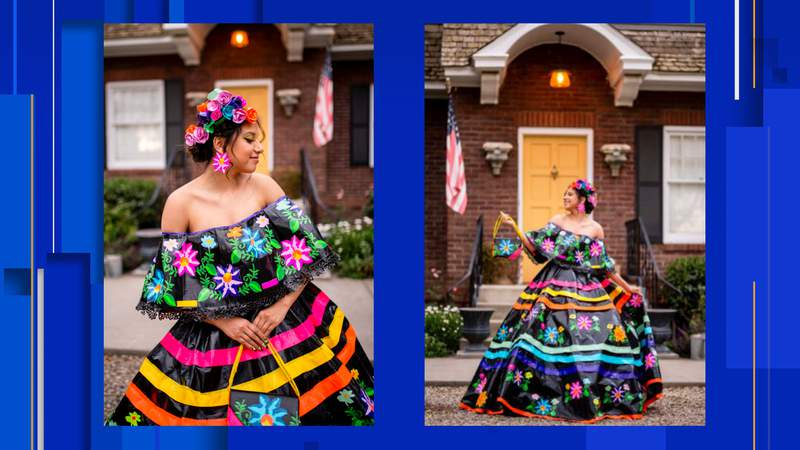 """This masterpiece of a prom dress, made entirely of duct tape, radiates Fiesta vibes and was created by teen Larissa Leon as part of The Duck Brand's """"Stuck at Prom"""" scholarship contest."""