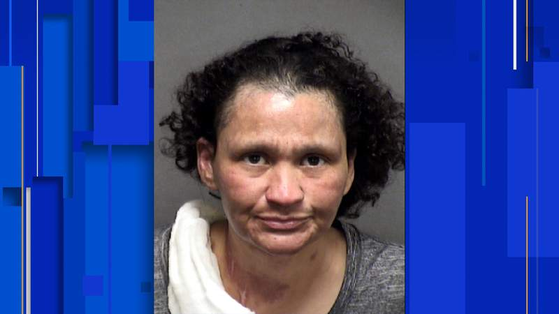 Karen Salinas, 45, has been charged with arson of a vehicle causing bodily injury, booking records show.