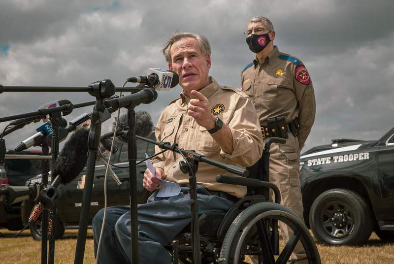 Gov. Greg Abbott criticized the Biden Administration's approach to border security at a press conference at Anzalduas Park in Mission on March 9, 2021. (Credit: Jason Garza for The Texas Tribune)