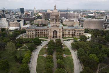 An aerial view of the Capitol during the coronavirus outbreak on March 23, 2020. (Miguel Gutierrez Jr./The Texas Tribune)