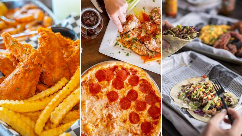 Wings and fries from SA Seafood (Embark Marketing); pizza and wings from Volare (Embark Marketing); tacos from The Jerk Shack (Jason Risner).