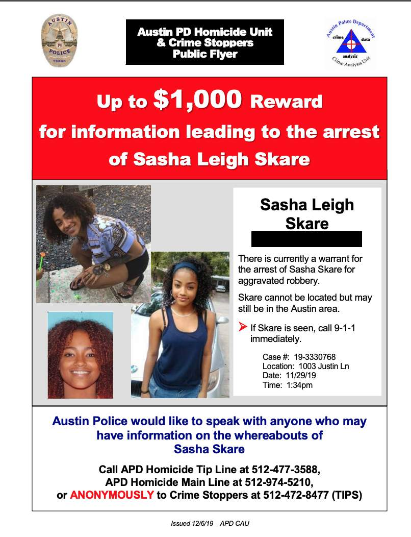 Austin police put out an advisory looking for Sasha Skare in December 2019.