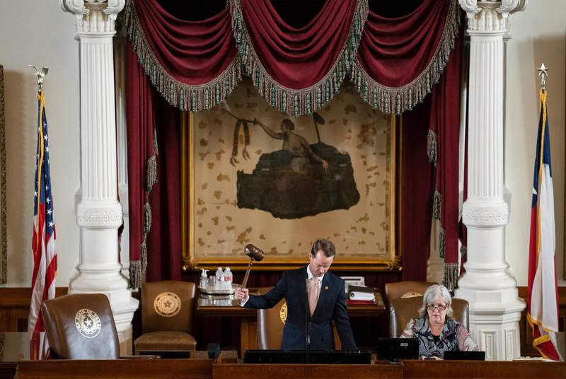 Speaker of the House Dade Phelan gavels in the opening day of the special session at the Texas Capitol on July 8, 2021.