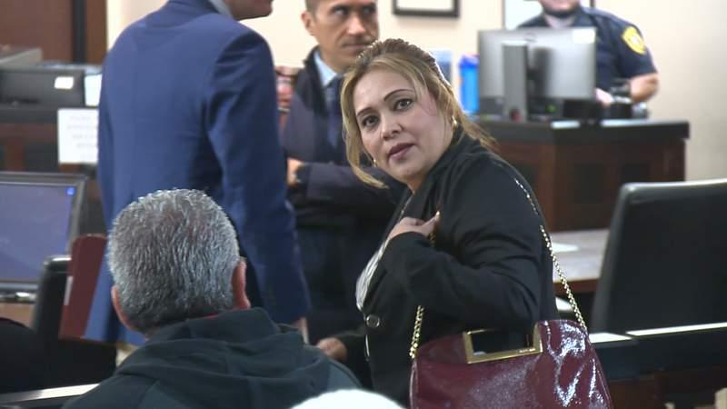 Michelle Barrientes Vela arrives in court on February 26, 2020.