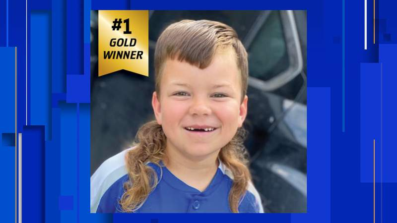 Jax won Mullet Champ USA's kids' contest this year for his curly mullet  (Credit: Mullet Champ USA)