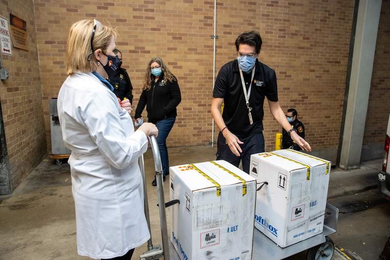 UT Health San Antonio received the first doses of Pfizer's COVID-19 vaccine on Dec. 14, 2020.