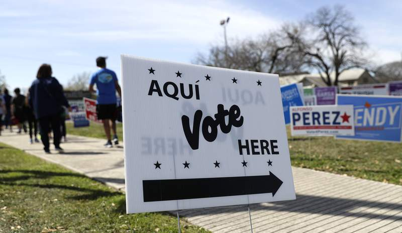 In this Friday, Feb. 28, 2020 photo, pedestrians pass signs near a polling site in San Antonio. (AP Photo/Eric Gay)