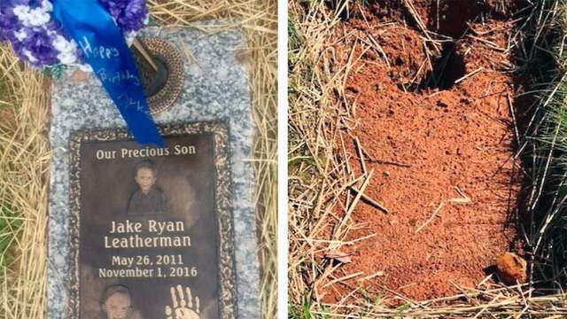 The grave marker for 5-year-old Jake Leatherman that was repossessed in a payment dispute with Southeastern Monuments.