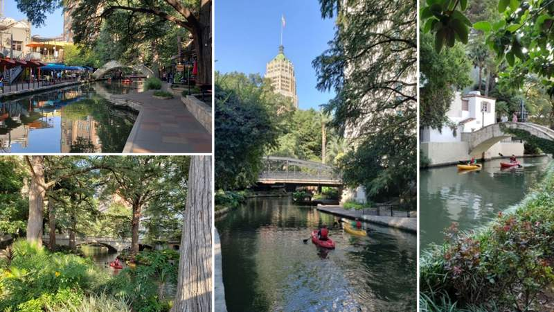 Kayaking along the business district portion of the San Antonio River Walk.