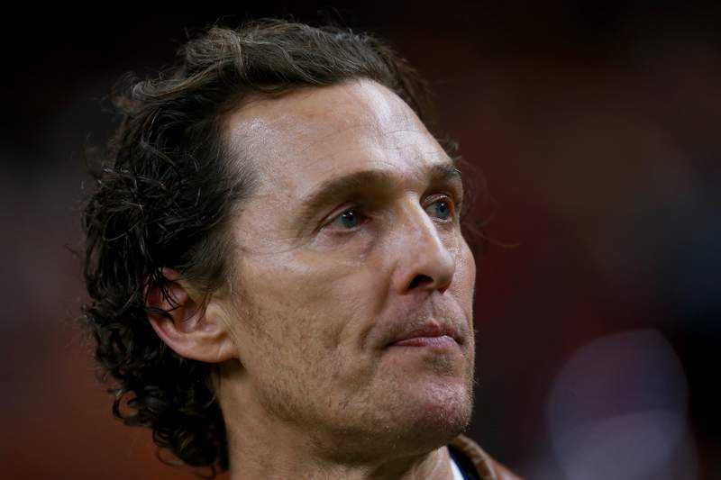 NEW ORLEANS, LOUISIANA - JANUARY 01:   Matthew McConaughey stands on the Texas Longhorns sideline during the first half of the Allstate Sugar Bowl at the Mercedes-Benz Superdome on January 01, 2019 in New Orleans, Louisiana. (Photo by Sean Gardner/Getty Images)