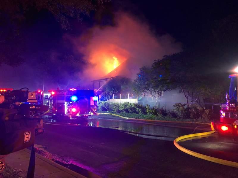 San Antonio firefighters battling large house fire on Northwest Side