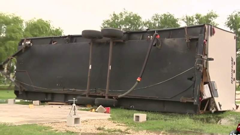 High winds flip RV with couple inside it in SE Bexar County