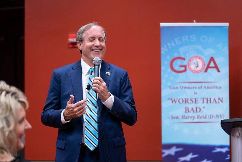 Texas Attorney General Ken Paxton speaks to the Gun Owners of America assembly. (Credit: Bob Daemmrich for The Texas Tribune)