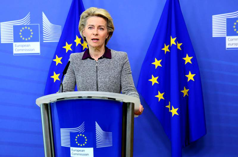 President of the European Commission Ursula von der Leyen speaks during a media conference at EU headquarters in Brussels, Thursday, Aug. 27, 2020. The European Commission president said Thursday her team could face a reshuffle after the resignation of the Irish trade Commissioner, Phil Hogan, over a controversy involving his questionable adherence to COVID-19 rules. (Francois Walschaerts, Pool Via AP)