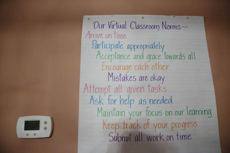 A list of virtual classroom norms hangs on Aimee Rodriguez Webbwall in her virtual classroom for a Cobb County, Georgia, school, on Tuesday, July 28, 2020. (AP Photo/Brynn Anderson)