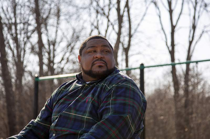 This February 2020 photo provided by the American Civil Liberties Union shows Robert Williams of Farmington Hills, Mich., a suburb of Detroit. Wrongfully arrested when facial recognition technology mistakenly identified him as a suspected shoplifter, he wants Detroit police to apologize  and to end their use of the controversial technology. (Drew English/ACLU via AP)