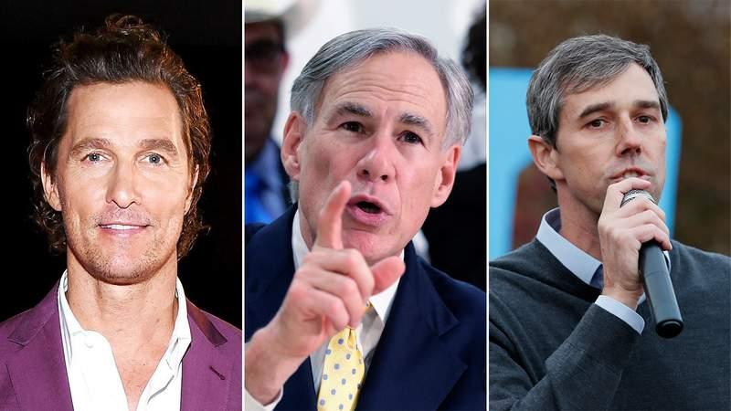 Matthew McConaughey, Texas Gov. Greg Abbott and Beto O'Rourke. Images: Getty, AP Photo/Eric Gay, AP Photo/Charlie Neibergall