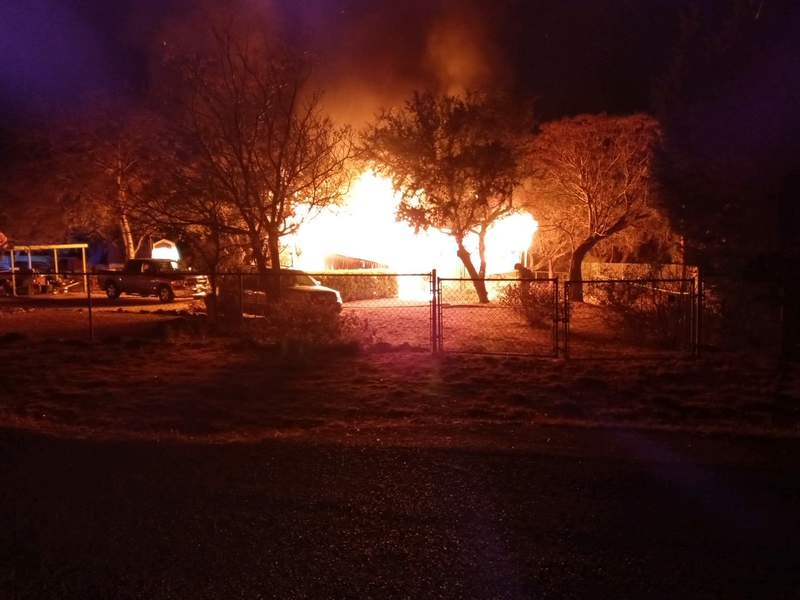 One person is dead and another is hospitalized following a mobile home fire in Canyon Lake, according to fire officials. (Credit: Canyon Lake Fire Department)