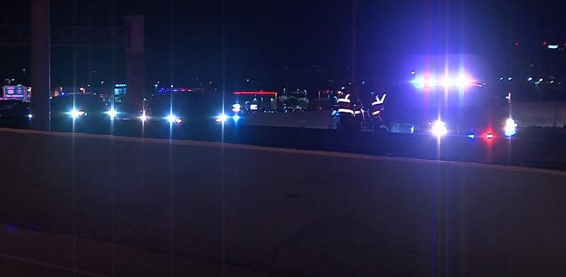 A man is in custody for a possible DWI after he rear-ended a police vehicle on the highway, according to San Antonio police.