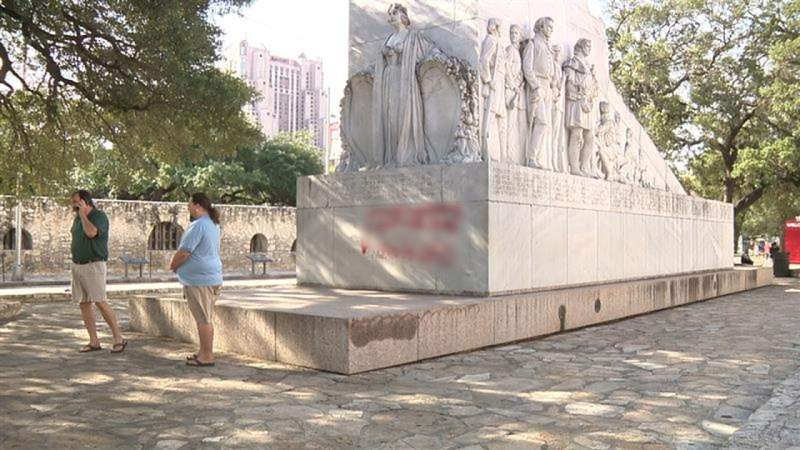 Spray-painted messages on Alamo's Cenotaph have people seeing red