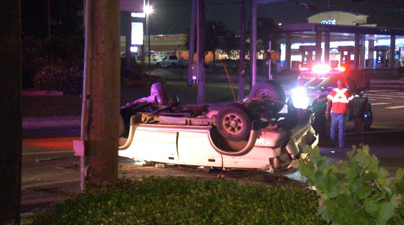 San Antonio police investigate a crash on Wednesday, July 21, 2021, at the intersection of Ingram and Callaghan roads.