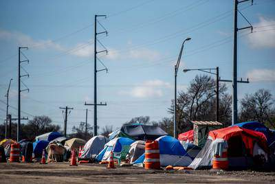Homeless Austin residents say life at the shelter in the southeast Austin neighborhood of Montopolis is an improvement for them — but still an incomplete solution to life without steady shelter. (Eddie Gaspar/The Texas Tribune)