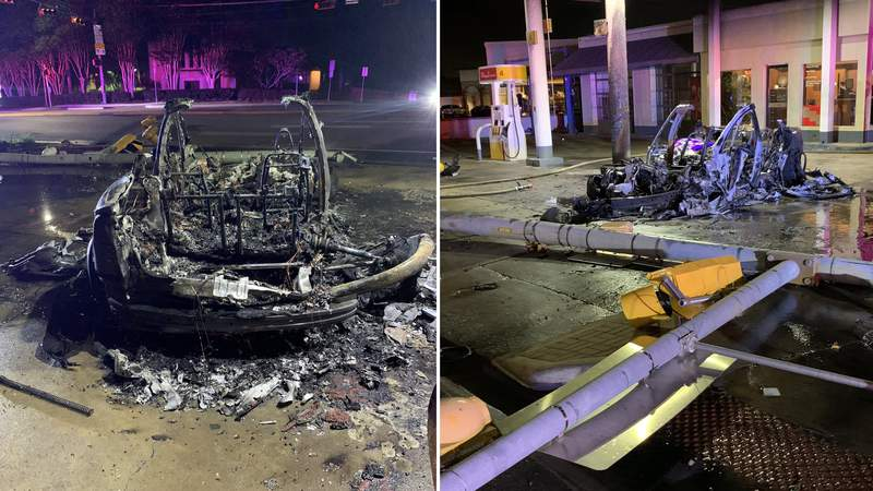 A Tesla was left completely charred after its driver crashed into a traffic light pole and then into a gas pump on Thursday, Aug. 12, 2021, in the 2600 block of Exposition Boulevard in the Austin area.