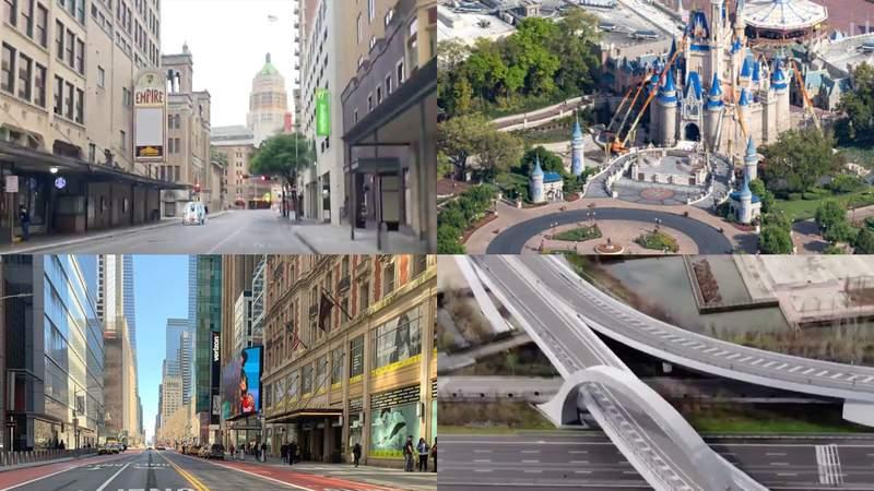 (Image of empty streets around world amid the coronavirus pandemic.)