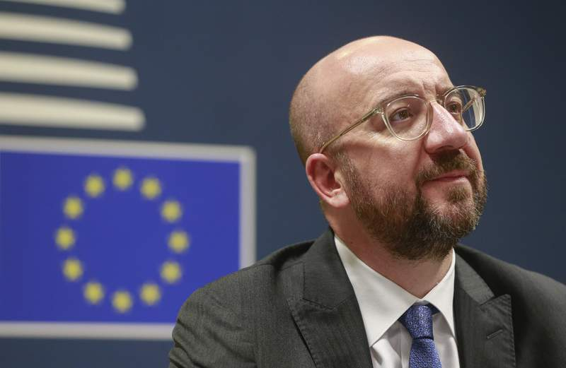 European Council President Charles Michel participates in a videoconference call with EU leaders at the European Council building in Brussels, Tuesday, March 10, 2020. EU leaders held a videoconference Tuesday to coordinate efforts across the 27-nation bloc in the hopes of slowing down the spread of the coronavirus. For most people, the new coronavirus causes only mild or moderate symptoms, such as fever and cough. For some, especially older adults and people with existing health problems, it can cause more severe illness, including pneumonia. (Stephanie Lecocq, Pool Photo via AP)