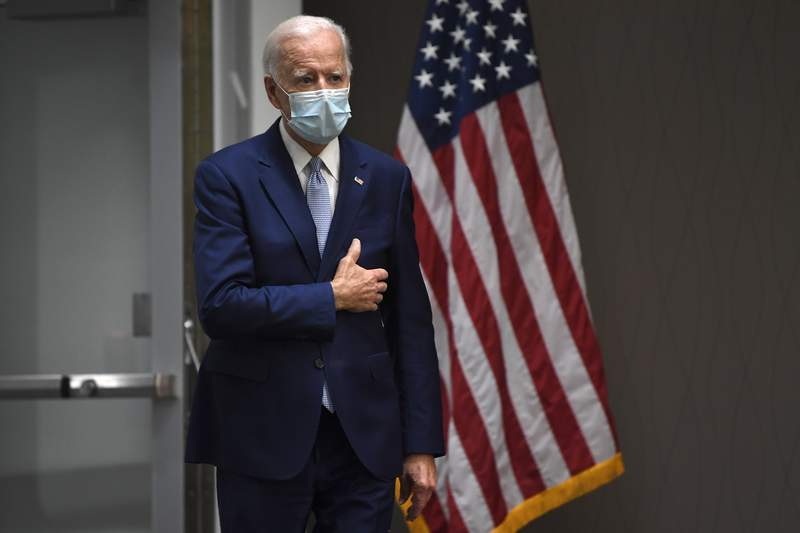Democratic presidential candidate, former Vice President Joe Biden arrives to speak during an event in Dover, Del., Friday, June 5, 2020. (AP Photo/Susan Walsh)
