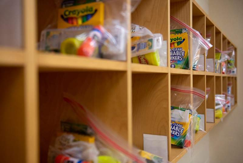 School supplies are individually bagged in each cubbie in a classroom at Ott Elementary School on Tuesday, Aug. 11, 2020 in San Antonio.