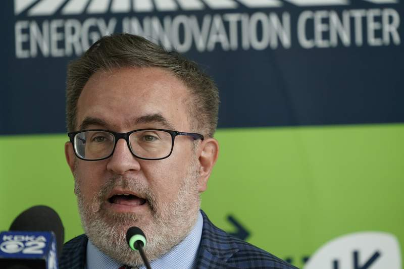 FILE - In this Aug. 13, 2020, file photo, Andrew Wheeler, administrator of the Environmental Protection Agency, speaks about the rollback of the 2016 methane emissions rules to undo Obama-era rules designed to limit greenhouse gas emissions from oil and gas fields and pipelines at the Energy Innovation Center in Pittsburgh. Wheeler says a second Trump administration term would bring more focus on pollution cleanups and less on climate change. Wheeler defended the administration's environmental record Sept. 3, 2020, in a speech commemorating the 50th anniversary of the EPA's founding. (AP Photo/Keith Srakocic, File)