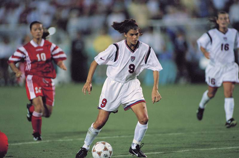 Mia Hamm of USA during the final of the women's soccer tournament against China at the 1996 Summer Olympics.