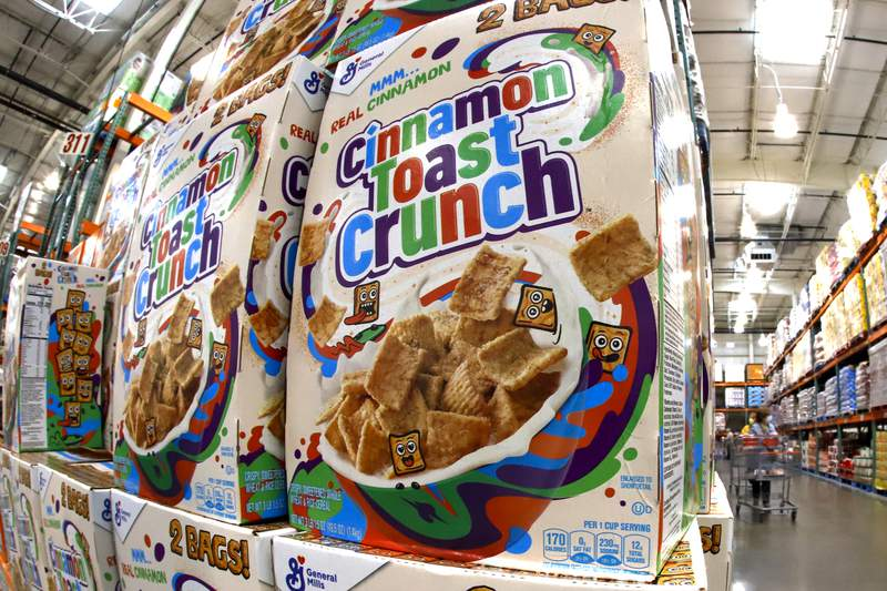 This is a display of General Mills Cinnamon Toast Crunch cereal at a Costco Warehouse in Robinson Township, Pa., on Thursday, May 14, 2020. (AP Photo/Gene J. Puskar)