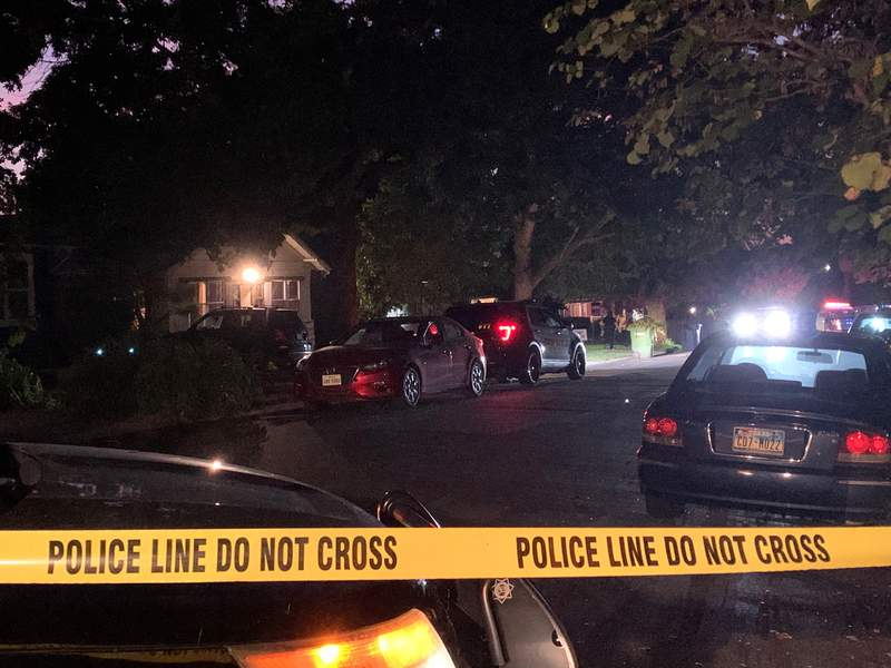 San Antonio police officers respond to an apparent drive-by shooting in the 1100 block of W. Russell Place. A 7-year-old girl was grazed by a bullet during the shooting, but is expected to be OK.