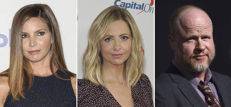 """In this combination photo, Charisma Carpenter, from left, attends the 6th annual Thirst Gala on June 30, 2015 in Beverly Hills, Calif., Sarah Michelle Gellar arrives at Jingle Ball on Dec. 6, 2019, in Inglewood, Calif., and Joss Whedon arrives at the premiere of """"Bad Times at the El Royale"""" on Sept. 22, 2018, in Los Angeles. Whedon, the prominent film and TV creator who faced a claim of abusive behavior on the set of Justice League, drew criticism Wednesday, Feb. 10, 2021, from actors who worked with him on Buffy the Vampire Slayer including Gellar and Carpenter. Whedon didnt immediately respond to a request for comment. (AP Photo)"""