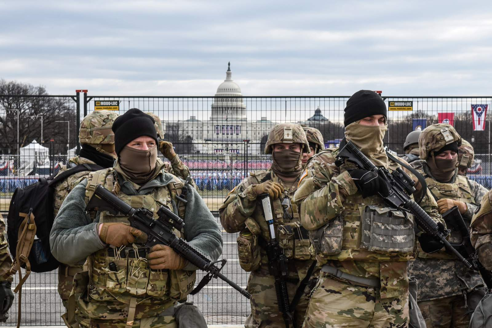 Members of the National Guard patrol the National Mall on January 19, 2021 in Washington, DC. Tight security measures are in place for Inauguration Day due to greater security threats after the attack on the U.S. Capitol on January 6. (Photo by Stephanie Keith/Getty Images)