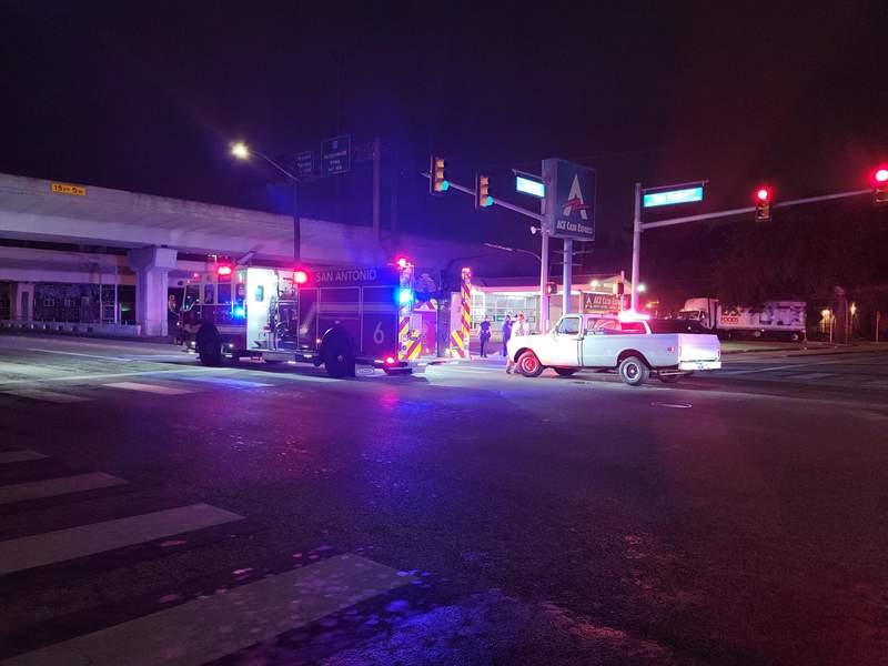 A woman was taken to the hospital after she was struck while crossing a street just north of downtown on Monday, Aug. 2, 2021.