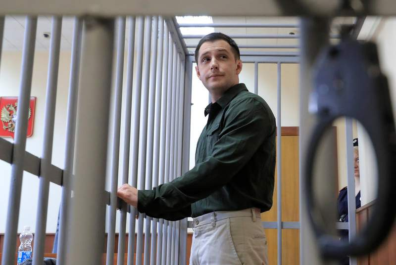 U.S. ex-Marine Trevor Reed, who was detained in 2019 and accused of assaulting police officers, at a court hearing in Moscow, Russia on March 11, 2020.