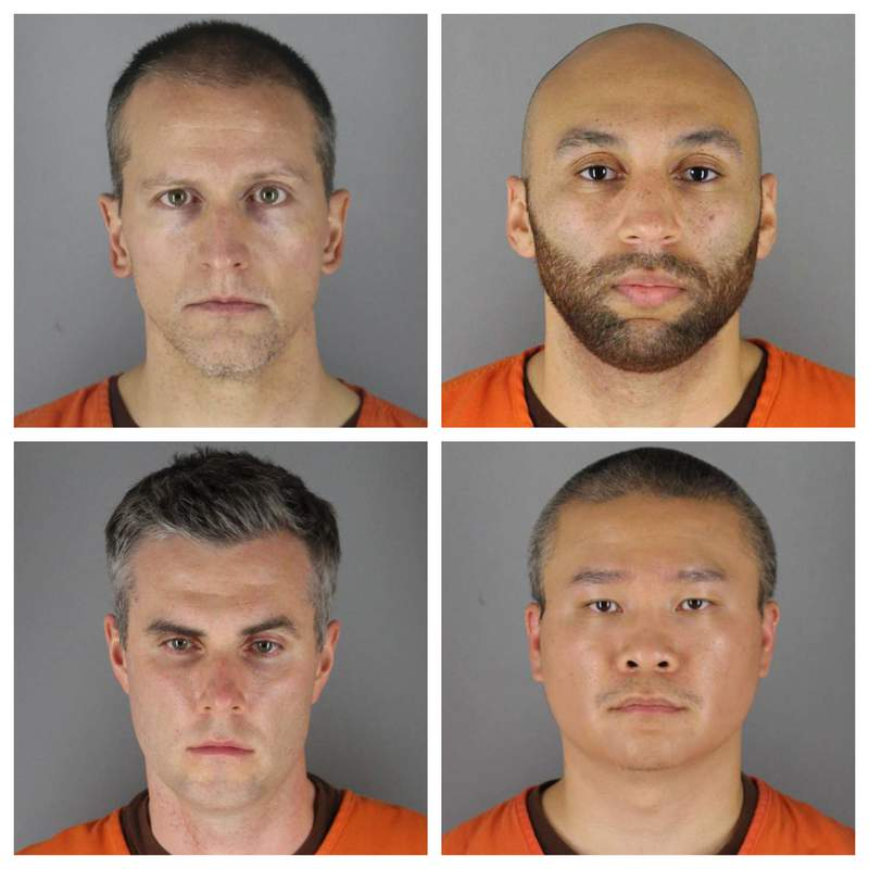 FILE - This combination of file photos provided by the Hennepin County Sheriff's Office in Minnesota on June 3, 2020, shows, top row from left, Derek Chauvin, and J. Alexander Kueng, bottom row from left, Thomas Lane and Tou Thao. A judge on Thursday, Nov. 5 declined defense requests to move the trial of the four Minneapolis police officers charged in George Floyd's death, and also ruled that all four would be tried in a single proceeding. (Hennepin County Sheriff's Office via AP, File)