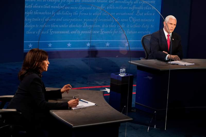 Democratic vice presidential nominee Sen. Kamala Harris and U.S. Vice President Mike Pence participate in the vice presidential debate at the University of Utah. (Photo by Morry Gash-Pool/Getty Images)