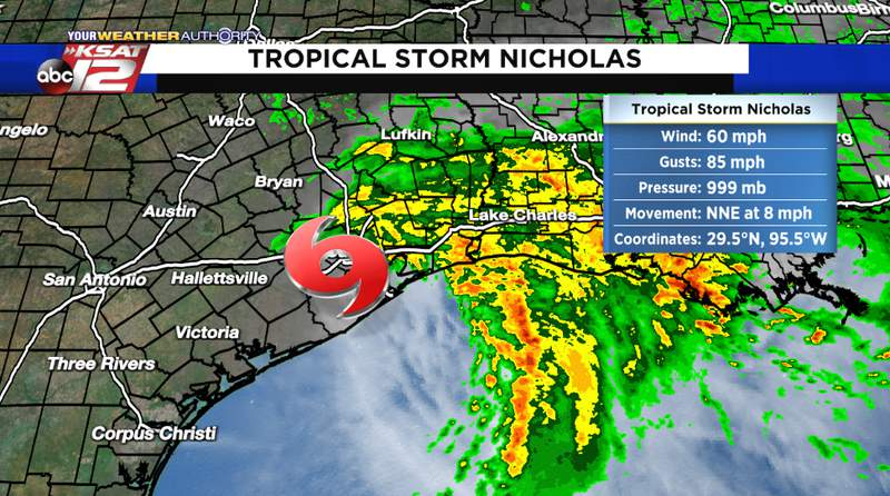 Tropical storm Nicholas is moving east into eastern Texas and Louisiana Tuesday morning