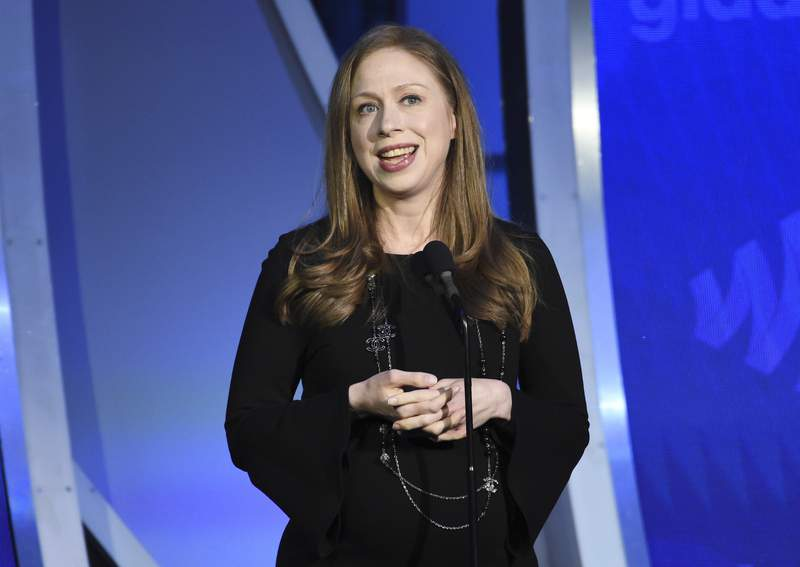 FILE - Chelsea Clinton speaks at the 30th annual GLAAD Media Awards in New York on May 4, 2019. iHeartMedia announced Tuesday that In Fact with Chelsea Clinton, hosted by Clinton, the daughter of former President Bill Clinton and former Secretary of State Hillary Clinton, will premier April 13. (Photo by Evan Agostini/Invision/AP, File)