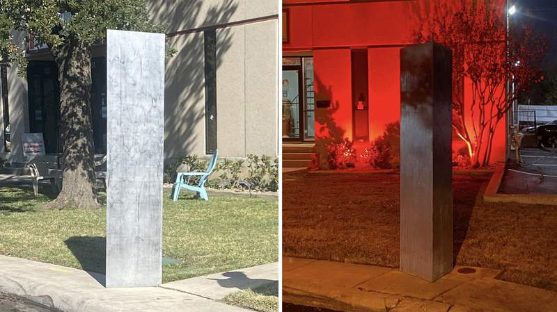 A monolith appeared near the San Antonio International Airport on Thursday, Dec. 3, 2020. It is located in the 1200 block of Safari.