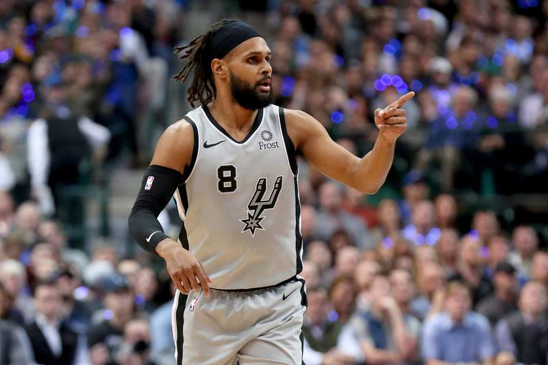 DALLAS, TEXAS - JANUARY 16: Patty Mills #8 of the San Antonio Spurs reacts after scoring against the Dallas Mavericks in the second half at American Airlines Center on January 16, 2019 in Dallas, Texas. (Photo by Tom Pennington/Getty Images)