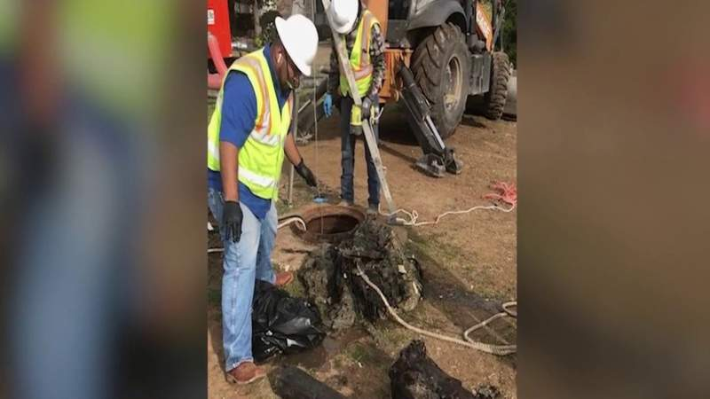 SAWS crews find debris from pipe