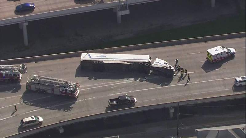 WATCH LIVE: SKY 12 over rolled over 18-wheeler on Finesilver curve