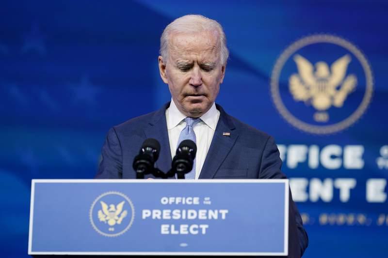 President-elect Joe Biden speaks at The Queen theater in Wilmington, Del., Wednesday, Jan. 6, 2021. (AP Photo/Susan Walsh)